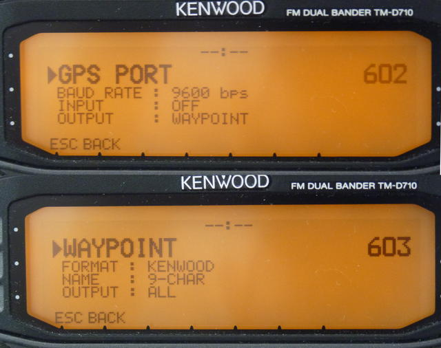[Photo of Kenwood D7x0 config]